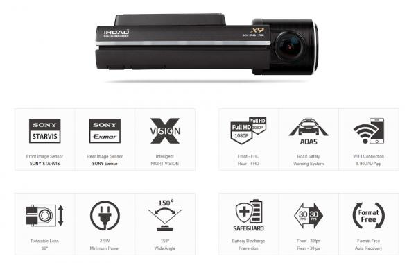 Iroad X9 Dual Dashcam 4
